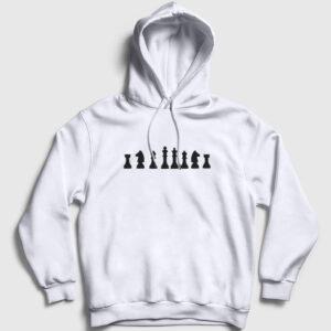 Satranç Kapşonlu Sweatshirt beyaz