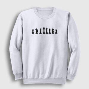 Satranç Sweatshirt beyaz