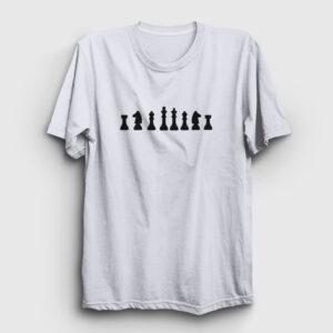 Satranç Tişört beyaz