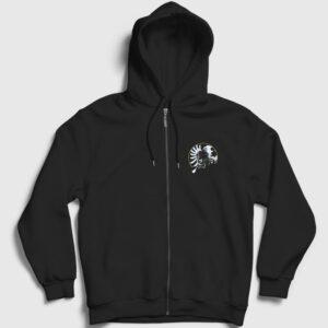 Savaş Pilotu Fermuarlı Kapşonlu Sweatshirt siyah