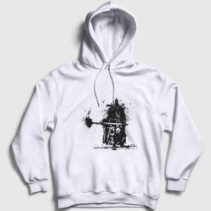 Savaşçı Kapşonlu Sweatshirt beyaz