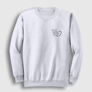 Sevimli Kedi Logolu Sweatshirt beyaz
