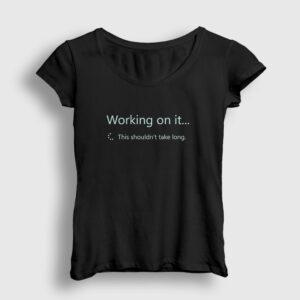 Sharepoint Working on it Kadın Tişört siyah