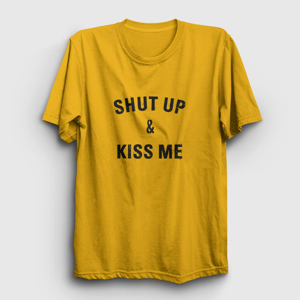 Shut Up & Kiss Me Tişört sarı