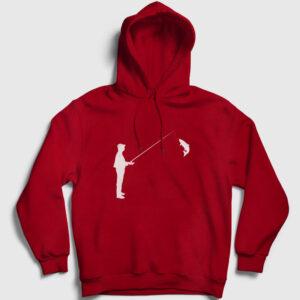 Silüet Balıkçı Kapşonlu Sweatshirt kırmızı