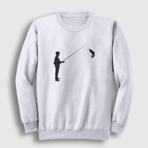 Silüet Balıkçı Sweatshirt beyaz