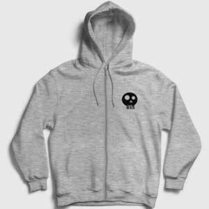 Simple Skull Fermuarlı Kapşonlu Sweatshirt gri kırçıllı