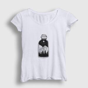 Şişede Manzara Kadın Tişört beyaz