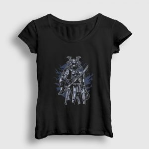 Skeleton Samurai Kadın Tişört siyah