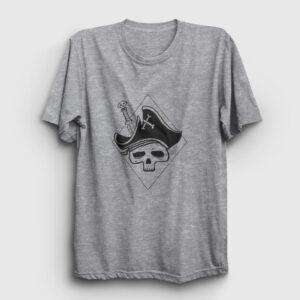 Skull Pirate Tişört gri kırçıllı