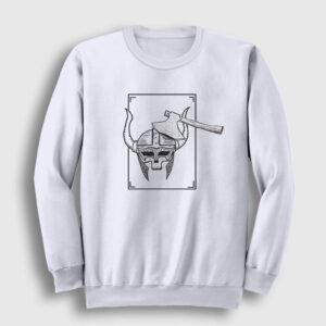 Skull Viking Sweatshirt beyaz