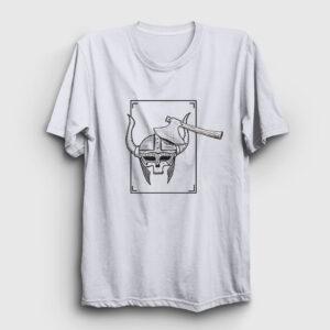 Skull Viking Tişört beyaz