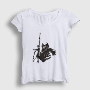 Sniper Kadın Tişört beyaz