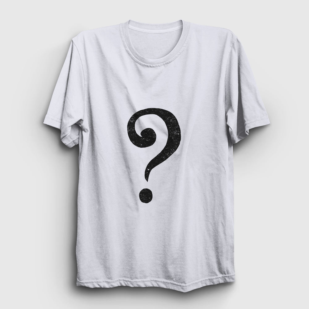 soru işareti tişört beyaz