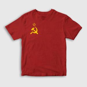 Sovyet Bayrağı Logolu Çocuk Tişört kırmızı