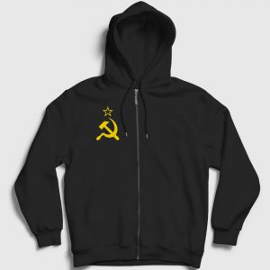 Sovyet Bayrağı Logolu Fermuarlı Kapşonlu Sweatshirt siyah