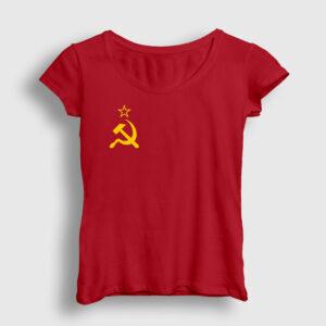 Sovyet Bayrağı Logolu Kadın Tişört kırmızı