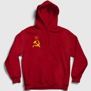 Sovyet Bayrağı Logolu Kapşonlu Sweatshirt kırmızı