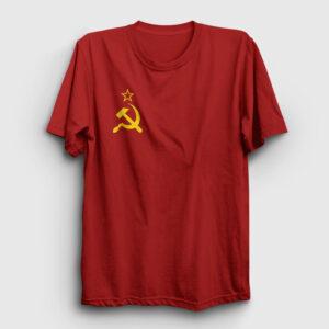 Sovyet Bayrağı Logolu Tişört kırmızı