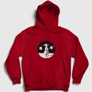 Space Pyramid Kapşonlu Sweatshirt kırmızı