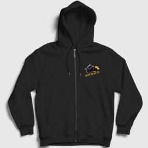 Speed Fermuarlı Kapşonlu Sweatshirt siyah