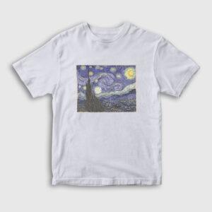 Starry Night Van Gogh Çocuk Tişört beyaz
