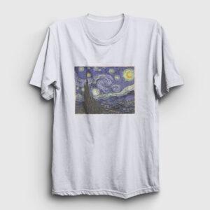 Starry Night Van Gogh Tişört beyaz