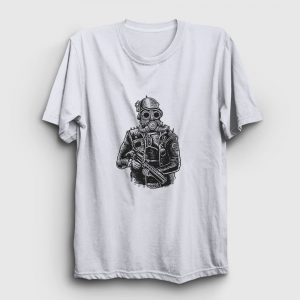Steampunk Soldier Tişört beyaz