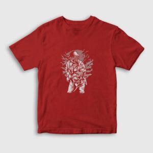 Steampunk Style Soldier Çocuk Tişört kırmızı