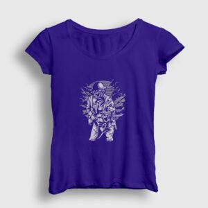 Steampunk Style Soldier Kadın Tişört lacivert