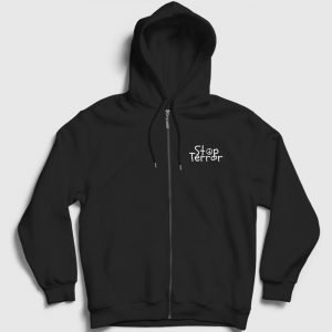 Stop Terror Fermuarlı Kapşonlu Sweatshirt siyah