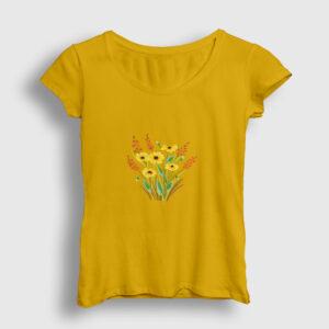 Suluboya Çicekler Kadın Tişört sarı