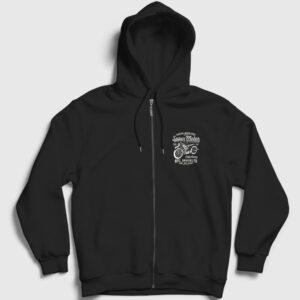 Super Motor Fermuarlı Kapşonlu Sweatshirt siyah