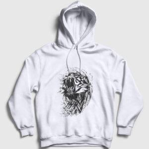 Sürreal Kaplan Kapşonlu Sweatshirt beyaz