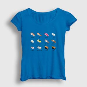 Suşi Çeşitleri Kadın Tişört açık mavi