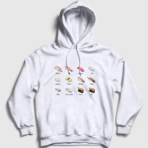 Suşi Çeşitleri Kapşonlu Sweatshirt beyaz