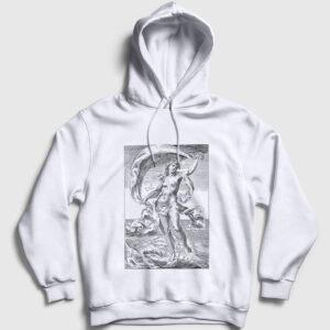 Tanrıça Afrodit Kapşonlu Sweatshirt beyaz
