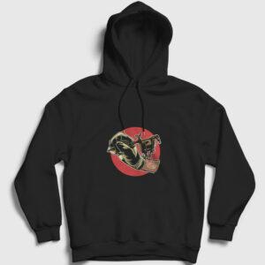 Tattoo Machine Kapşonlu Sweatshirt siyah