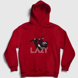 Tembel Hayvan Kapşonlu Sweatshirt kırmızı