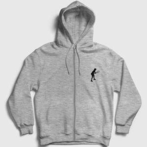Tenişçi Fermuarlı Kapşonlu Sweatshirt gri kırçıllı