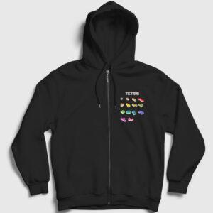 Tetris Fermuarlı Kapşonlu Sweatshirt siyah