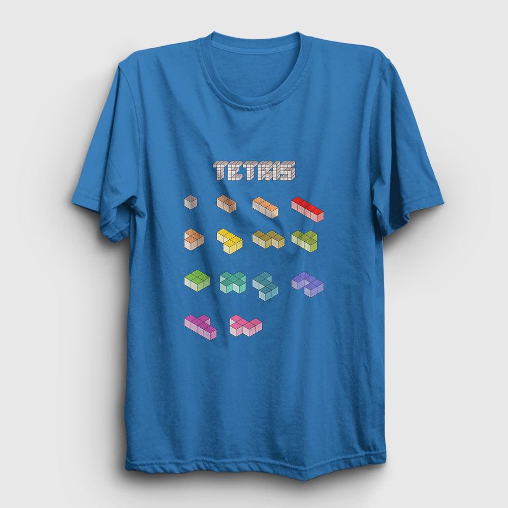 tetris tişört açık mavi