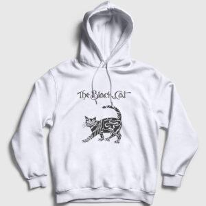The Black Cat Kapşonlu Sweatshirt beyaz