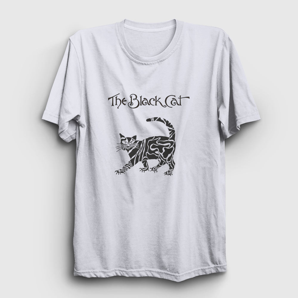 the black cat tişört beyaz
