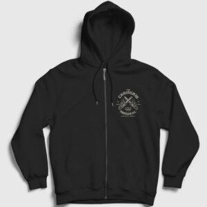 The Chainsaw Massacre Fermuarlı Kapşonlu Sweatshirt siyah