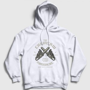 The Chainsaw Massacre Kapşonlu Sweatshirt beyaz