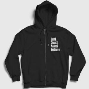 The Great Composers Fermuarlı Kapşonlu Sweatshirt siyah