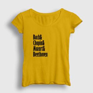 The Great Composers Kadın Tişört sarı