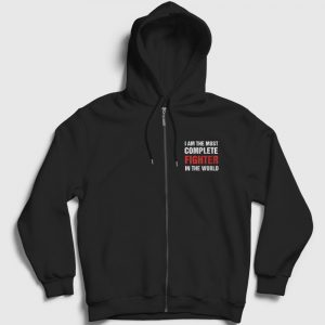 The Most Complete Fighter Fermuarlı Kapşonlu Sweatshirt siyah