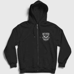 The Real Butcher Kasap Fermuarlı Kapşonlu Sweatshirt siyah